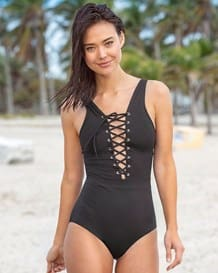 lace-up plunge one-piece swimsuit--MainImage