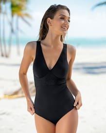 vestido de bano entero con control de abdomen y toques de encaje-700- Black-MainImage