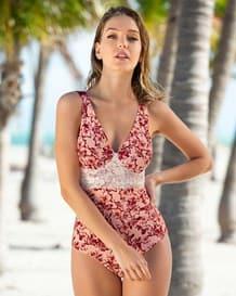 vestido de bano entero con control de abdomen y encaje-466- Pink-MainImage