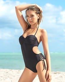 vestido de bano estilo trikini strapless--MainImage
