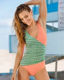 contrasted side sash slimming swimsuit with multiway straps--MainImage