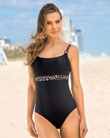 radiant color block one-piece slimming bathing suit-700- Black-MainImage