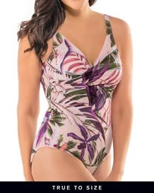 tropical shaping swimsuit - twist top u-back-317- Floral Pink-MainImage
