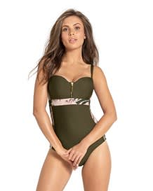 zip-front color block sculpting one-piece bathing suit-695- Dark Green-MainImage