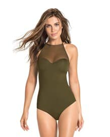 high neck slimming one piece swimsuit-695- Dark Green-MainImage