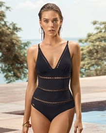 new laser cut one-piece slimming swimsuit-700- Black-MainImage