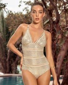 vestido de bano entero con control de abdomen y franjas decorativas y acabado brillante--MainImage