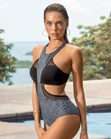trikini estilo bandeau con acabado brillante-736- Gray-MainImage