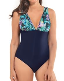 slimming color block plunge one-piece swimsuit-567- Dark Blue-MainImage