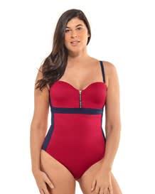 zip-front color block sculpting one-piece swimsuit-323- Red-MainImage