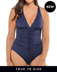 new shirred strappy back sculpting swimsuit-509- Blue-MainImage