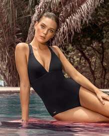 ladder back one-piece bathing suit-701- Black-MainImage