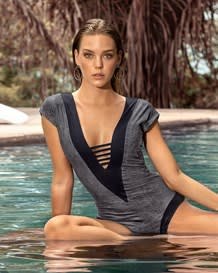 strappy front plunge slimming one-piece swimsuit-736- Gray-MainImage