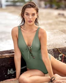 lace-up plunge one-piece swimsuit made of recycled ocean plastic-610- Green-MainImage