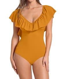 vestido de bano con control suave-101- Mustard-MainImage