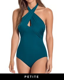 one-piece cross top extra-firm compression swimsuit-563- Blue-MainImage