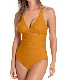increible traje de bano entero con drapeado y control fuerte en abdomen-101-Light Mustard-MainImage