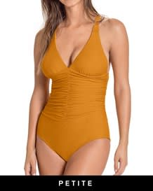shirred firm compression one-piece swimsuit-101- Mustard-MainImage