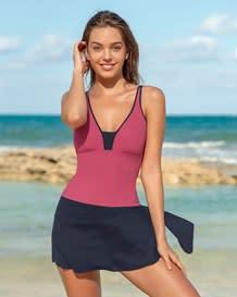 increible vestido de bano entero con falda multiusos y control de abdomen suave-221- Pink-MainImage