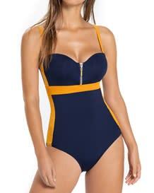 vestido de bano balconet de una pieza con control suave de abdomen-515- Blue-MainImage