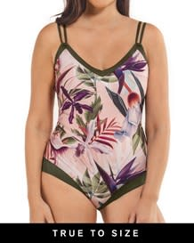 tie back one piece slimming swimsuit - double straps-317- Floral Pink-MainImage