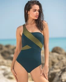 one-shoulder firm compression sculpting swimsuit-629- Blue and Green-MainImage