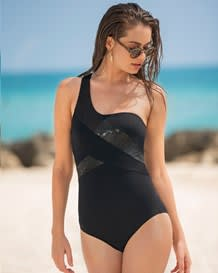 one-shoulder firm compression sculpting swimsuit-700- Black-MainImage