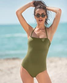 one-piece slimming swimsuit - strapless with corset back-629- Green-MainImage