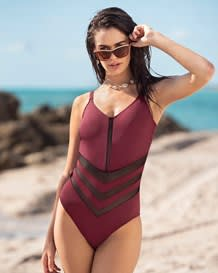 one-piece slimming bathing suit - mesh cutout--MainImage