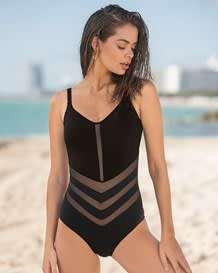 one-piece slimming bathing suit - mesh cutout-700- Black-MainImage