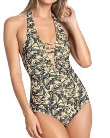 one-piece slimming swimsuit - mesh cutout-812- Beige-MainImage