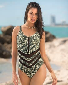 one-piece slimming swimsuit - mesh cutout-812- Beige-MainImage