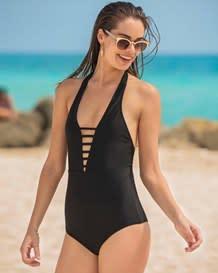 vestido de bano de una pieza con escote muy profundo y control fuerte-700- Black-MainImage