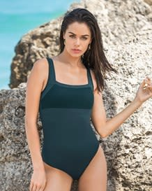 sporty one-piece shaping swimsuit-650- Dark Green-MainImage
