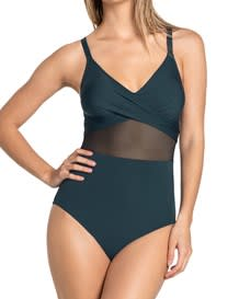 one-piece shaping swimsuit - cross-front-650- Dark Green-MainImage