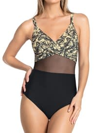 one-piece shaping bathing suit - cross-front-812- Beige-MainImage