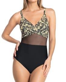 vestido de bano con control y transparencia en el abdomen-812- Beige-MainImage
