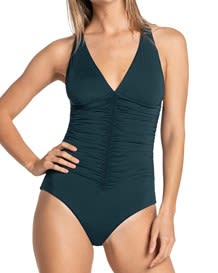 shirred firm compression one-piece bathing suit-650- Dark Green-MainImage