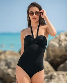 strapless pleated one-piece slimming swimsuit-700- Black-MainImage