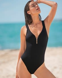 zipper front one-piece swimsuit-700- Black-MainImage