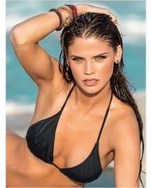 vestido de bano triangular tipo cortina y el panty estilo brasilera-701- Black-MainImage