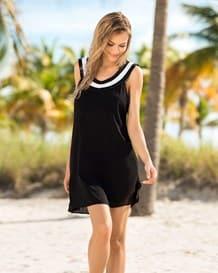 wide neck beach cover-up dress-700- Black-MainImage