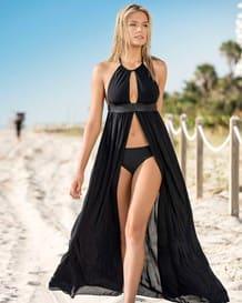 vestido de playa largo con escote y fajon-700- Black-MainImage