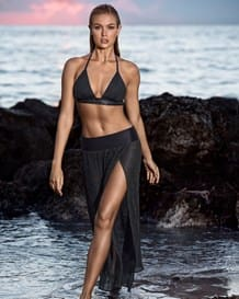 side slit beach cover-up maxi skirt-700- Black-MainImage