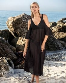 embroidered long beach coverup dress-700- Black-MainImage