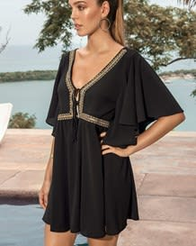 new goddess batwing beach cover-up dress-700- Black-MainImage