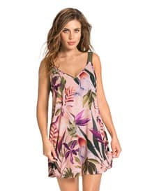 loose fit short beach cover-up dress-317- Floral Pink-MainImage