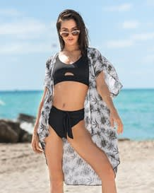 open front loose-fit beach cover up dress-750- Light Grey-MainImage