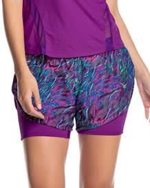 short deportivo estampado de silueta ancha con short interno ajustado-445- Purple-MainImage