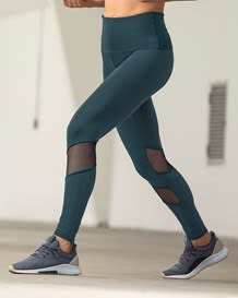 midrise mesh cutout shaper legging - activelife-696- Dark Green-MainImage